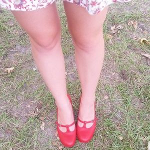 Red bettie page heels
